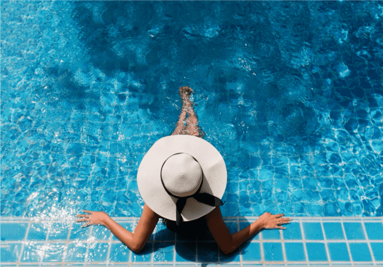 Woman Lounging in Pool