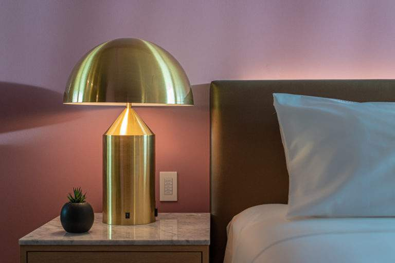 Room Bedside Table with Custom Brass Lamp