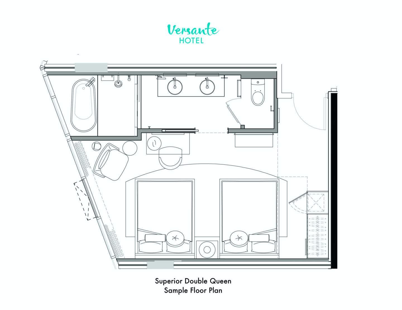 Superior Double Queen Room Floor Plan